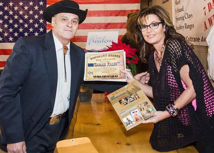 Sarah Palin Receiving Her Membership Certificate From Robert Lanthier (President of the Reel Cowboys)